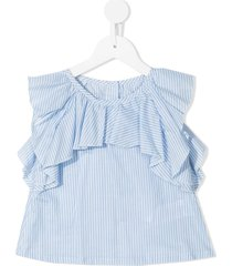 lapin house ruffle trim cotton shorts set - blue