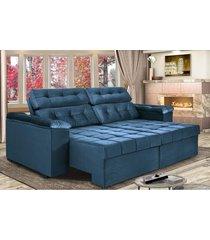 sofã¡ retrã¡til e reclinavel new austrã¡lia 2,25m tecido suede velusoft azul - cama inbox - incolor - dafiti