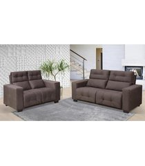 conjunto de sofá hannover 3 e 2 lugares tecido suede marrom café - hellen