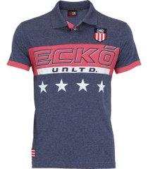 camisa polo ecko estampada e287a - masculina - azul esc mescla
