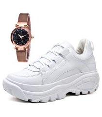 tênis sapatênis casual plataforma com relógio gold feminino dubuy 728mr branco