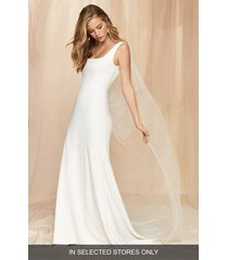 women's savannah miller stella crepe wedding dress with removable tulle cape veil