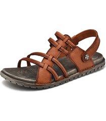 sandali casual da uomo in pelle antiscivolo con decorazione in metallo