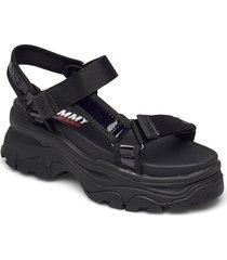 iridescent hybrid sandal shoes summer shoes flat sandals svart tommy hilfiger