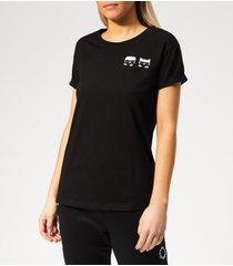 karl lagerfeld women's ikonik karl & choupette pocket t-shirt - black - l - black