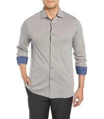 men's bugatchi shaped fit contrast cuff sport shirt, size large - purple