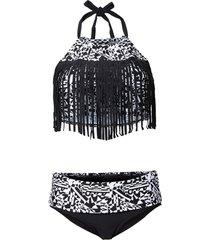 bikini con frange (set 2 pezzi) (nero) - rainbow