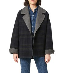 bernardo reversible coat, size small in navy plaid grey at nordstrom