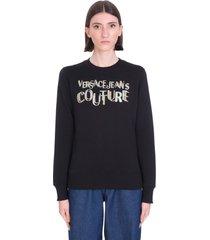 versace jeans couture sweatshirt in black cotton
