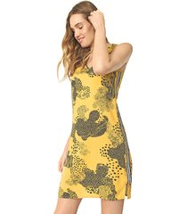 vestido habana curto estampado amarelo/preto - kanui