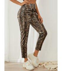 pantalones casuales de talle medio de piel de serpiente yoins