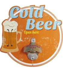 abridor de garrafa  cold beer open here... kasa ideia - laranja - dafiti