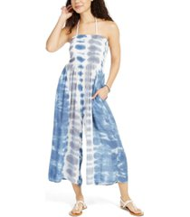 raviya tie-dye strapless smocked cover-up jumpsuit, created for macy's women's swimsuit