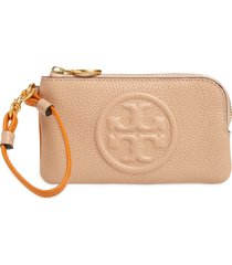 women's tory burch perry colorblock leather card case - beige