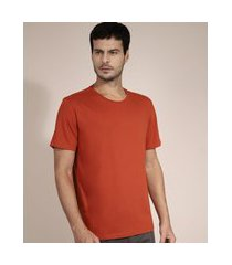 camiseta de algodão básica manga curta gola careca laranja