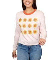 rebellious one juniors' sunflowers graphic ringer t-shirt