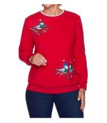 alfred dunner women's bluebird embroidered sweatshirt