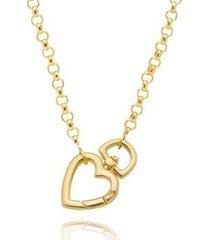 colar lys lazuli elo português fecho coração semijoia banhada ouro 18k feminino - feminino