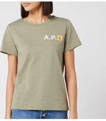 a.p.c. x carhartt women's fire t-shirt - khaki - m