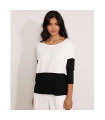 blusa ampla básica com recorte manga 7/8 decote redondo off white