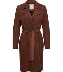 coats woven wollen jas lange jas bruin esprit casual