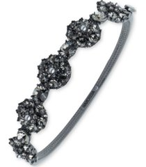 marchesa hematite-tone crystal & imitation pearl cluster bangle bracelet