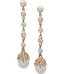 anne klein gold-tone pave & imitation pearl linear drop earrings