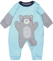 macacã£o longo feito em suedine bordado urso turquesa curioso 13 turquesa - azul - menino - dafiti