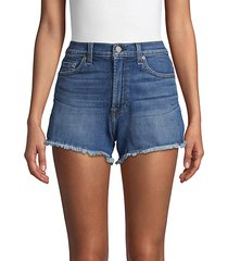 high-rise frayed cuff jeans shorts