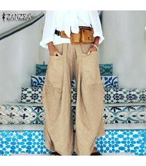 zanzea ocasional de las mujeres elásticos de la cintura ancha pantalones de pierna culottes tirar-en pantalones largos -caqui