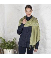 green celtic silk blend pashmina