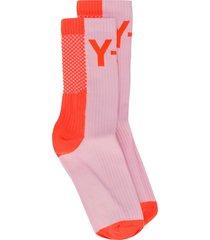 y-3 ribbed detail logo socks - pink