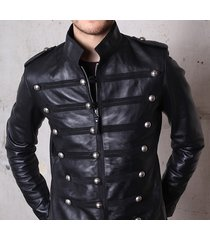 handmade mens military leather jacket,men nepolian military black leather jacket