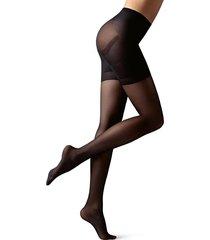 meia calça com compressão graduada transparente fio 30 efeito modelador total premium - preto