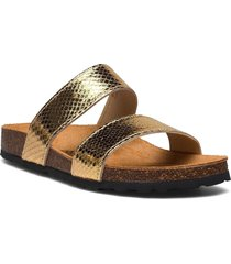 twin strap slip in shoes summer shoes flat sandals guld bianco