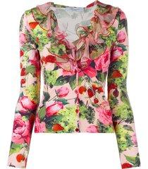 blumarine floral print ruffled cardigan - pink