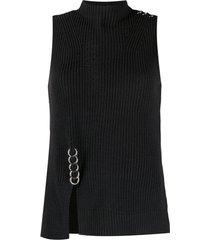 diesel blusa de tricô canelado com detalhe de argola - preto