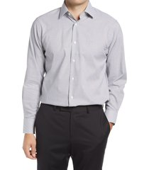 men's big & tall nordstrom traditional fit pinstripe non-iron dress shirt, size 18.5 - 36/37 - grey