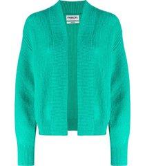 essentiel antwerp ribbed open-front cardigan - green