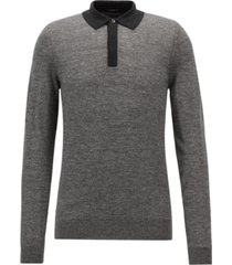 boss men's contrast-collar long-sleeve polo sweater