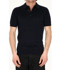 john smedley blue cotton polo shirt