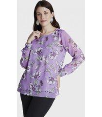 blusa manga larga doble capa y aplicación hombros lila lorenzo di pontti
