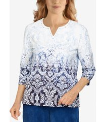 alfred dunner petite classics ombre medallion top