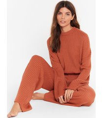 womens high-waisted sweater and ribbed pants lounge set - cinnamon