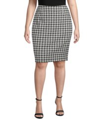 kasper plus size houndstooth jacquard slim skirt