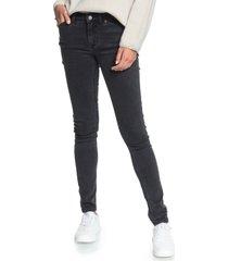women's roxy stand by you skinny jeans, size 28 - black