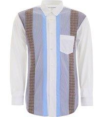 comme des garçons shirt striped patchwork shirt