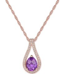 "amethyst (1 ct. t.w.) & diamond (1/6 ct. t.w.) teardrop 18"" pendant necklace in 14k rose gold"