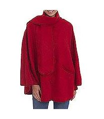 alpaca blend cape, 'mountain getaway in crimson' (peru)