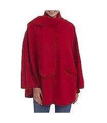 alpaca blend cape, 'mountain getaway in crimson' (peru)